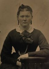 ANTIQUE AMERICAN Young Lady School Girl Watch Chain TINTYPE PHOTO