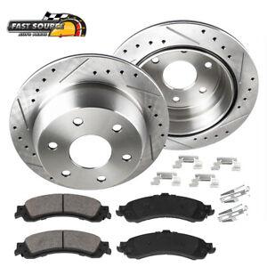 For 2002 - 2009 Chevy Trailblazer Envoy Rear Drilled Brake Rotors + Ceramic Pads