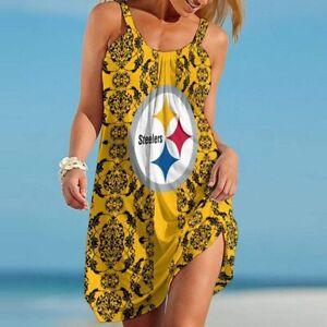 Pittsburgh Steelers Spaghetti Strap Dress Summer Backless Casual Swing Sundress