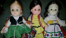 "Vogue Ginny Doll Vtg. International Outfits Lot/3 Poseable 8"" vguc"