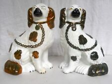 Pr. Antique English Staffordshire Dogs Spaniels Nice Condition 9.5 In.