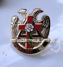 DP430 Freemason Badge Knights Templar White Rose Cross Eagle Rose Croix