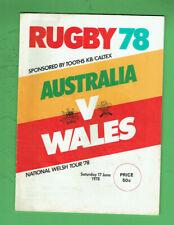 #Kk. Rugby Union Program - 17/6 1978, Australia V Wales