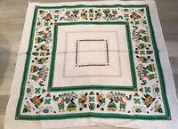 Vintage Square Tablecloth, PA Dutch Folky Man & Woman, Parisian Prints, Ceramics