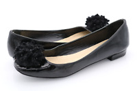 Kate Spade Womens 6B Black Leather Slip On Flower Flats Ballet