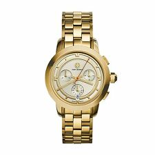 NEW TORY BURCH TRB1000 GOLD STAINLESS STEEL IVORY CHRONOGRAPH DIAL WOMEN S  WATCH 360b874ab510