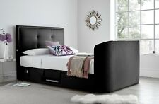"""Black Leather Jetson Super King Size Ottoman Media TV bed Holds Up to 43"""" TV"""