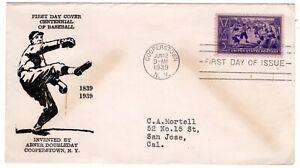 Baseball #855 First Day Cover 1939 Pl#101 Theron Fox - RARE CV$750
