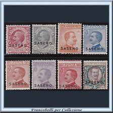 1923 Colonie Italiane Saseno Serie completa n. 1/8 Nuovi Integri **