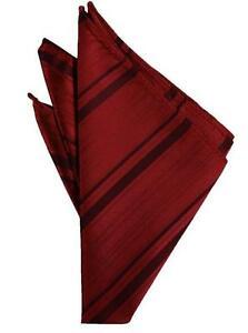 Apple Red Striped Satin Handkerchief-pocket square-hankie  NEW