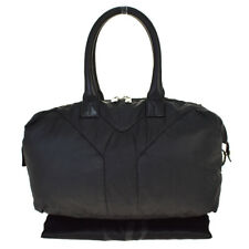 Auth YVES SAINT LAURENT YSL Tote Hand Bag Nylon Leather  Black Italy 01BP079