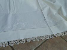 Vtg Italian White Linen Hand Embroidered 3 Pc Sheets Set With Lace
