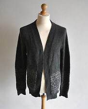 Mens All Saints Grey Alexi Open Cardigan Long Sleeve Fairisle Merino Wool Size L