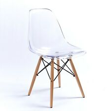 NICHES Ghost Clear Acrylic Style Dining x Office Chair Transparent Eiffel Wood