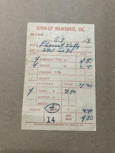 Vintage Seven Up Milwaukee Inc Pleasant Valley Paper Receipt Bottles 1958 A3