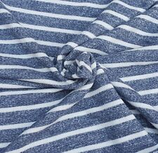 """Denim White Stripe Cotton French Terry Knit Fabric by the Yard 64""""W 7/31/15"""