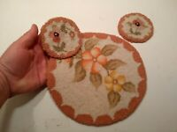 """Vintage hand hooked Cheticamp mats lot of 3 floral round 2  3 3/4"""" coasters & 9"""""""