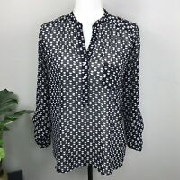 Alice Blue for Stitch Fix Womens Long Sleeve Heart Print Blouse Size Small