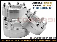 """4PC 5x5.5"""" To 6x5.5"""" 5 To 6 Lug 2"""" Thick Wheel Spacers Adapters Ram To Silverado"""