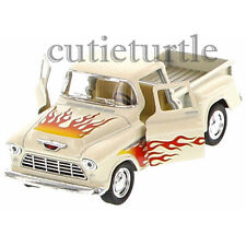 Kinsmart 1955 Chevy Stepside 3100 PickUp Truck 1:32 Diecast with Flame Cream