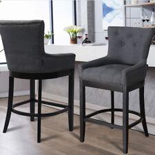 Fabric Dining Room Bar Stool Dark Grey Tall Pub Cafe Chair Padded Seats Footrest