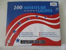 100 Clear & Red & Blue Miniature Lights - New W Box