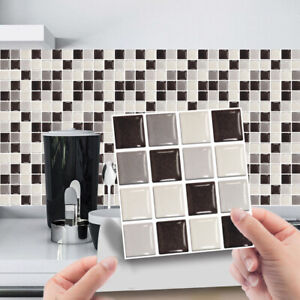 30x Mosaic Tile Stickers Stick On Bathroom Kitchen Home Wall Decal Self-adhesive