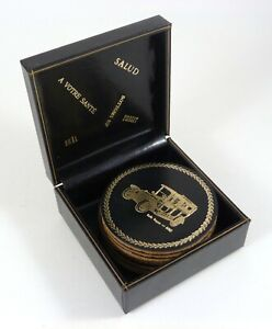 """Antique Cars Coaster Set of 8 Leather/Cork Olds Buick Rolls Dodge w/Box 3.125"""""""
