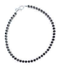 Tennisarmband Silber 925 mit schwarzen Zirkonias Armband 19,5 cm Silberarmband