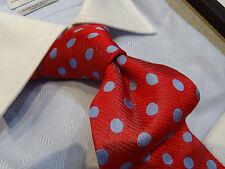 Fabio Silk Tie Necktie Red Sky Blue Polka Dot