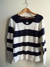 GAP Women's Striped Sweater 100% Cotton White/Navy Size M, NWT