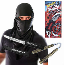 Mens Adult Terrorist Hood Halloween Fancy Dress Costume with Ninja Toys