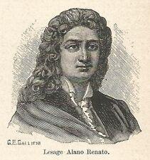 A7326 Alano Renato Lesage - Stampa Antica del 1928 - Xilografia
