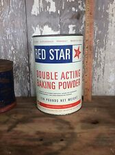 Vintage Ten Pound Red Star Double Acting Baking Powder Can , Advertising