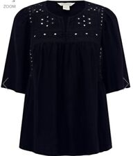 Monsoon Lisha Black Mirrorwork Top Uk 16 Embroidered Bnwt
