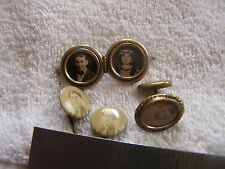 Antique Victorian Mourning Jewelry Lot Double Brooch pin Hat Pin Cufflink