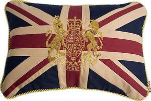 """12""""x18"""" VINTAGE ROYAL CREST CROWN & LION UNION JACK UK FLAG Woven Cotton Cushion"""