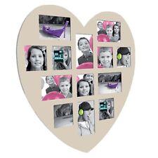 Cadre photo en bois Taupe Forme Coeur  60 x 60 cm   Pêle-mêle  13 photos