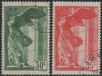 "FRANCE YVERT 354/55 SCOTT B66-67 "" WINGED VICTORY OF SAMOTHRACE 1937 "" USED VF"