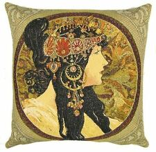 "NEW ALPHONSE MUCHA BYZANTINE BRUNETTE 18"" TAPESTRY CUSHION COVER 6004"