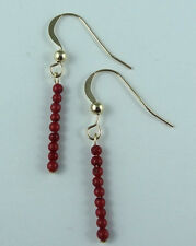 Red Coral Gemstone Gold Earrings 14k Gold Filled