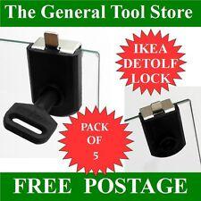 5 Pack Lock per IKEA DETOLF vetro display ARMADI ARMADIO DA COLLEZIONE