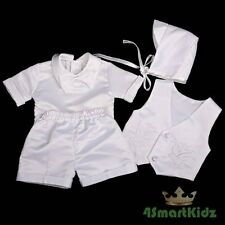 4 Pcs Embroidery Baptism Christening Short Suit Hat White Baby Boy Size 000 #019