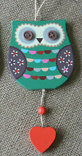 Green & Red Wooden Hanging Owl Bird Heart Decoration Shabby Retro Vintage Chic