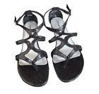 BLACK & PEWTER KITTEN HEEL SANDAL WITH TEXTURED SNAKE SKIN EFFECT. SIZE 5,6,7,8.