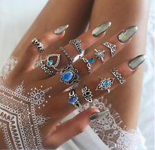 13PCS Mujer Blue Crystal Turtle Finger Rings Knuckle Midi Ring Set Boho Jewelry