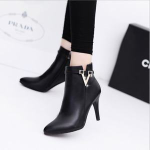Women's Pointed Toe Ankle Boots Side Zipper Chelsea Boots Stiletto Heel Trendy