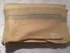 """Vintage C1940-50'S 100% laine crème avec fin rayures bleu couverture 72"""" W X 88"""" L"""