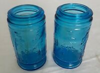 Vintage Blue Glass Bottles Soldier Jars 4 Inches Tall Wheaton NJ USA Perfect