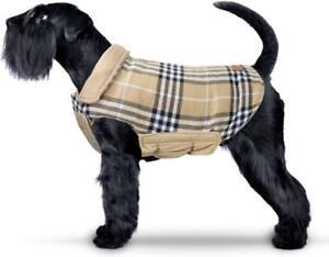 Reversible Plaid Dog Coat Warm Winter Cosy Padded Jacket Waistcoat Size Medium